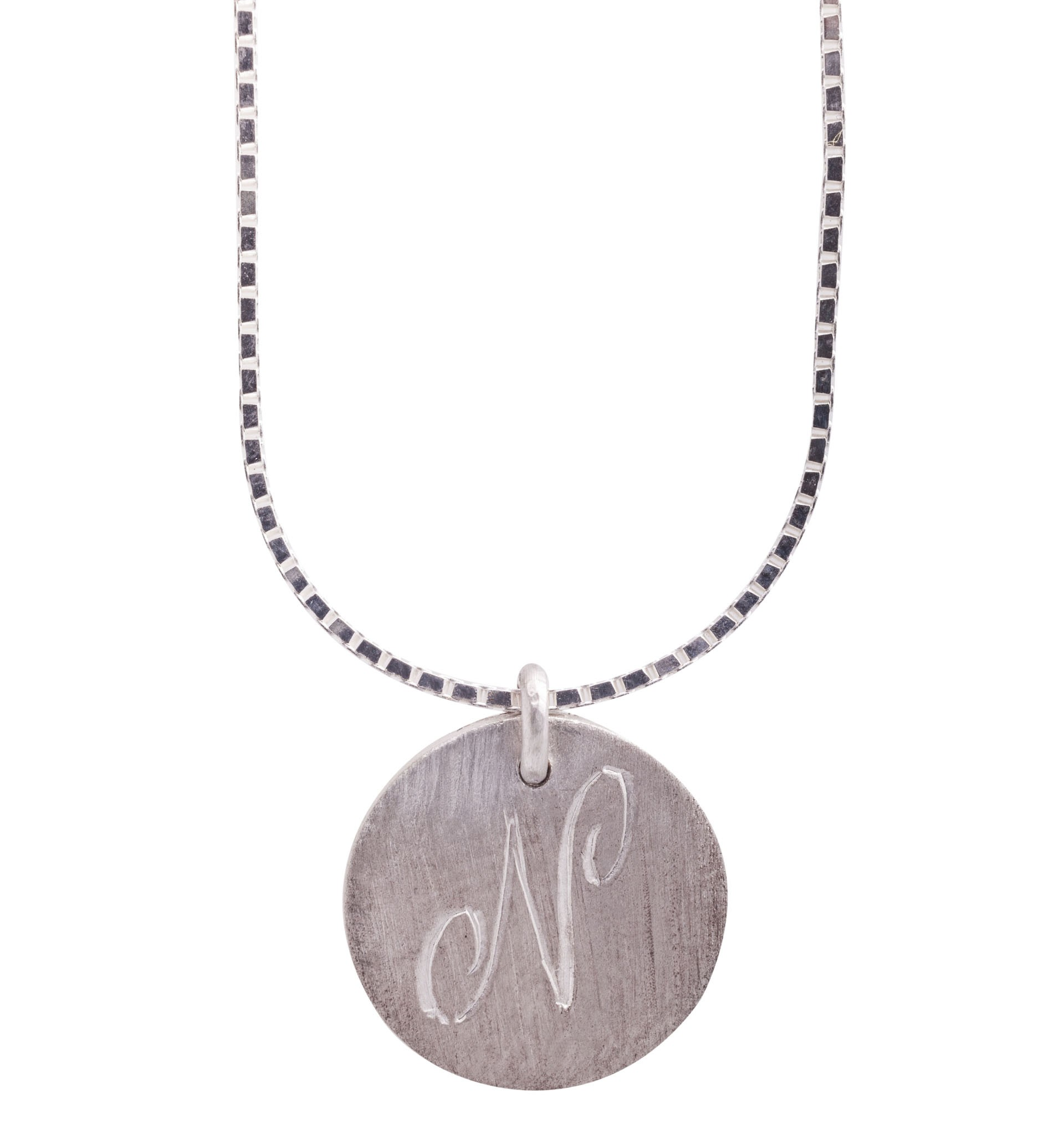 Personalised initials silver disc pendant mozeypictures Choice Image