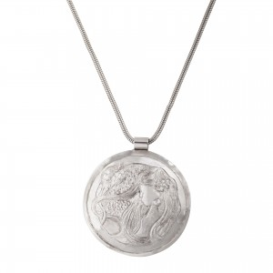 Silver Venus necklace disc