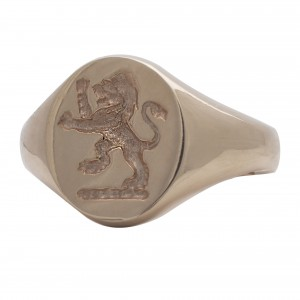 Seal engrave 'lion' 9ct yellow gold