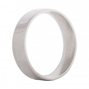 Flat wedding band 5mm 9ct white gold