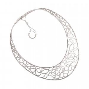 Ornamental silver necklace