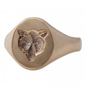 Seal engraved 'Bear' signet ring gold plated