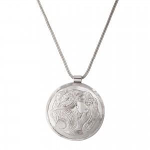 Silver Venus necklace disc