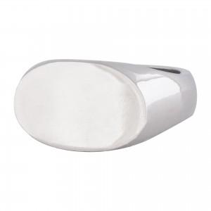 Landscape oval solid silver signet ring